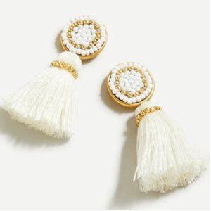 J. Crew Beaded Tassel Stud Earrings White Gold